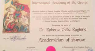 """Lo scrittore Roberto Della Ragione premiato dall'Accademia Internazionale di Arte, Lettere e Cultura """"Saint George"""" di Roma"""